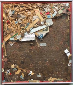 Assemblage Collage Painting/Sculpture with Pennies and Scrap Civil Rights Artist