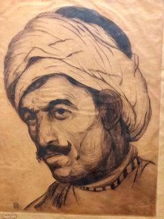 Bezalel School Jerusalem, Middle Eastern Arab Man in Turban Circa 1920s Etching