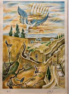 Jerusalem Menorah Israeli Judaica Surrealist Lithograph