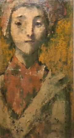 Modernist Encaustic Painting Portrait Boston Expressionist