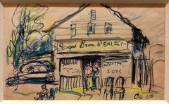 1950s Landscape Study, Mixed Media Drawing WPA Era Street Scene American Realist