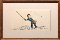 Whimsical Fishing Illustration Cartoon 1938 Mt Tremblant Ski Lodge William Steig
