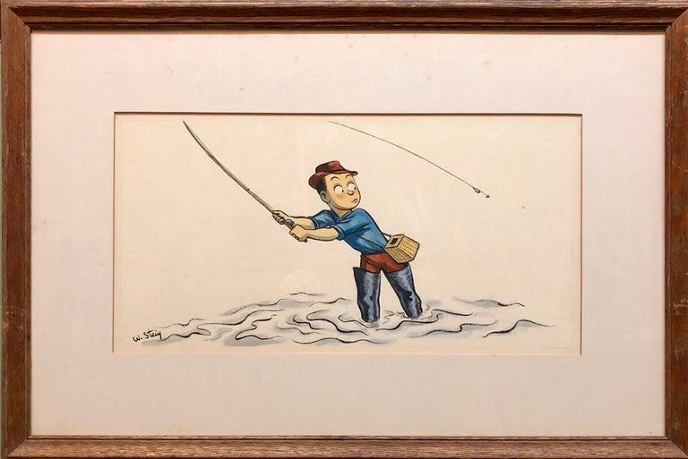 Whimsical Fishing Illustration Cartoon 1938 Mt Tremblant Ski Lodge William Steig