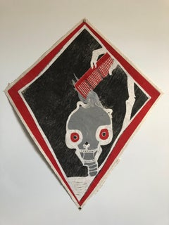 Mexican Modernist Kite Painting, Stencil, Skull Woodcut Print Hand Signed