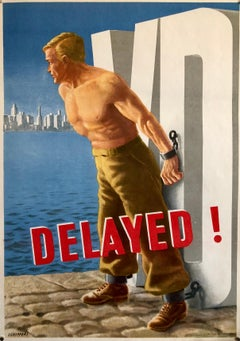 Original Vintage Color World War II Propaganda Poster Delayed! Offset Lithograph