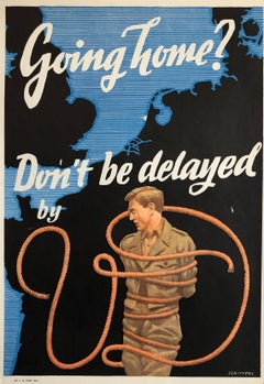 Original Vintage Color World War II Propaganda Poster Soldier Offset Lithograph