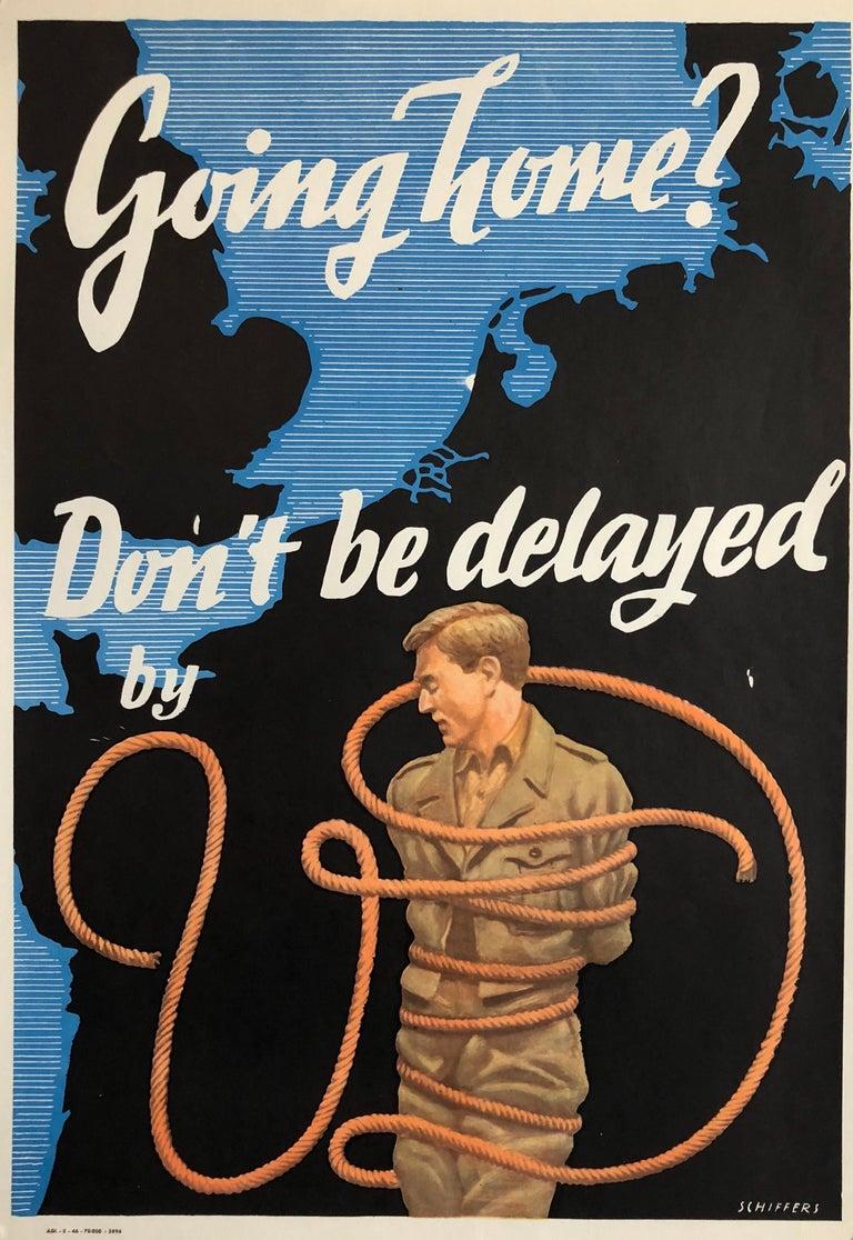 Franz Oswald Schiffers Figurative Print - Original Vintage Color World War II Propaganda Poster Soldier Offset Lithograph