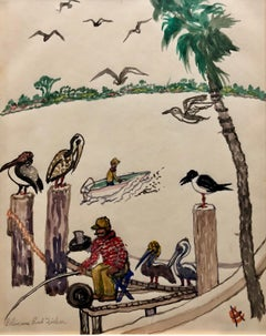 Pelicans and Fisherman Watercolor Painting Chicago WPA Artist