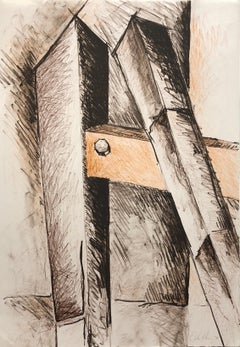 """Lithograph """"Shafts"""" Abstract Sculpture Drawing by John Henry Ed. 25"""