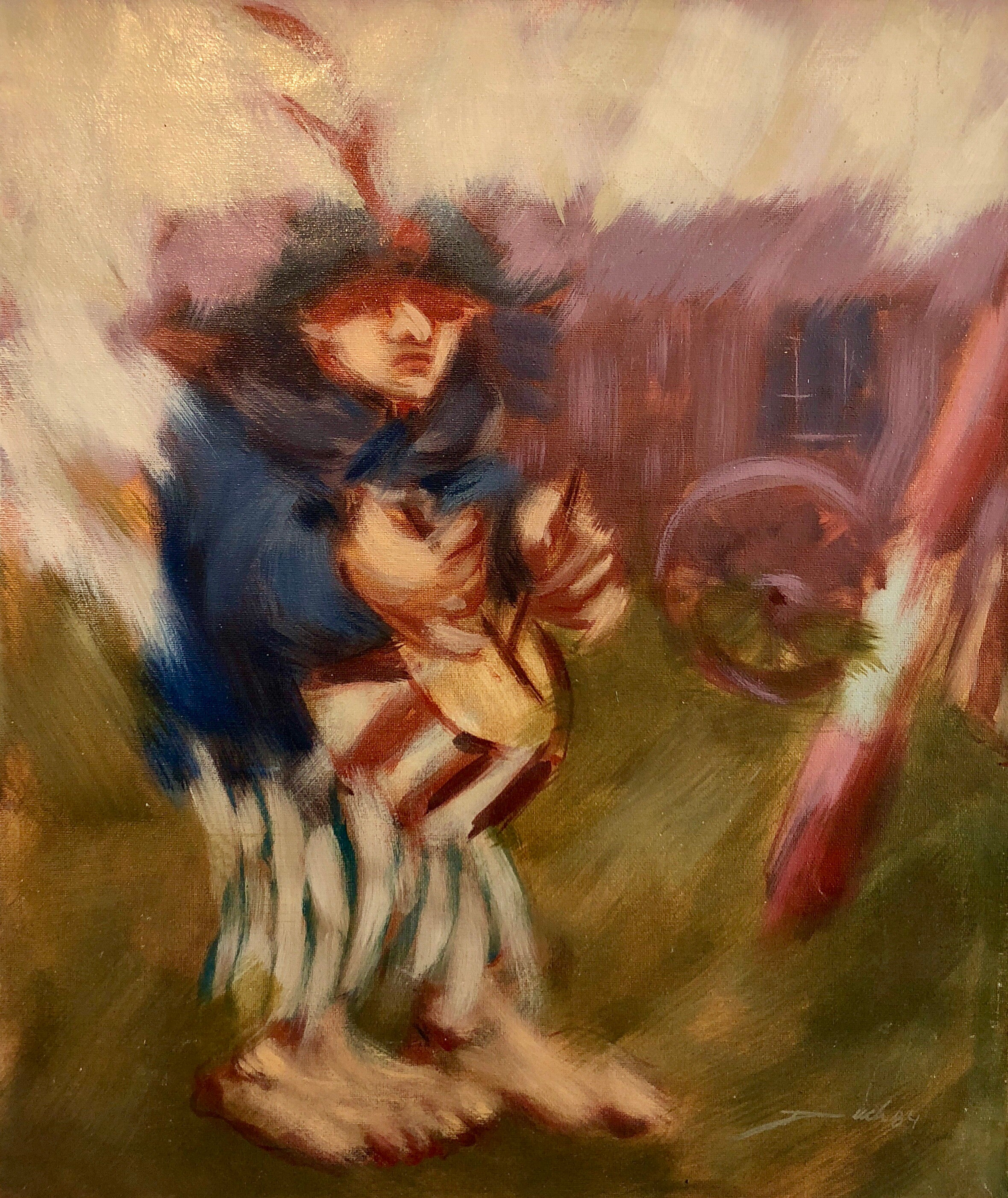 Spanish Catalan Modernist Oil Painting Drummer Boy Figurative Abstraction