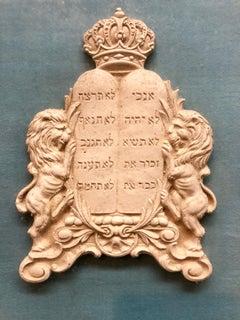 Framed Antique Judaica Plaster Ten Commandments Hebrew Sculpture Plaque