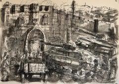Israeli Watercolor Painting 1967 War Jerusalem Lions Gate Judaica Bezalel