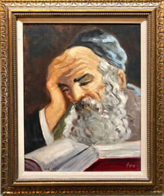 Portrait of a Rabbi Israeli judaica Oil Painting
