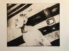 Woman in Agony or Ecstasy, Modernist Israeli Etching
