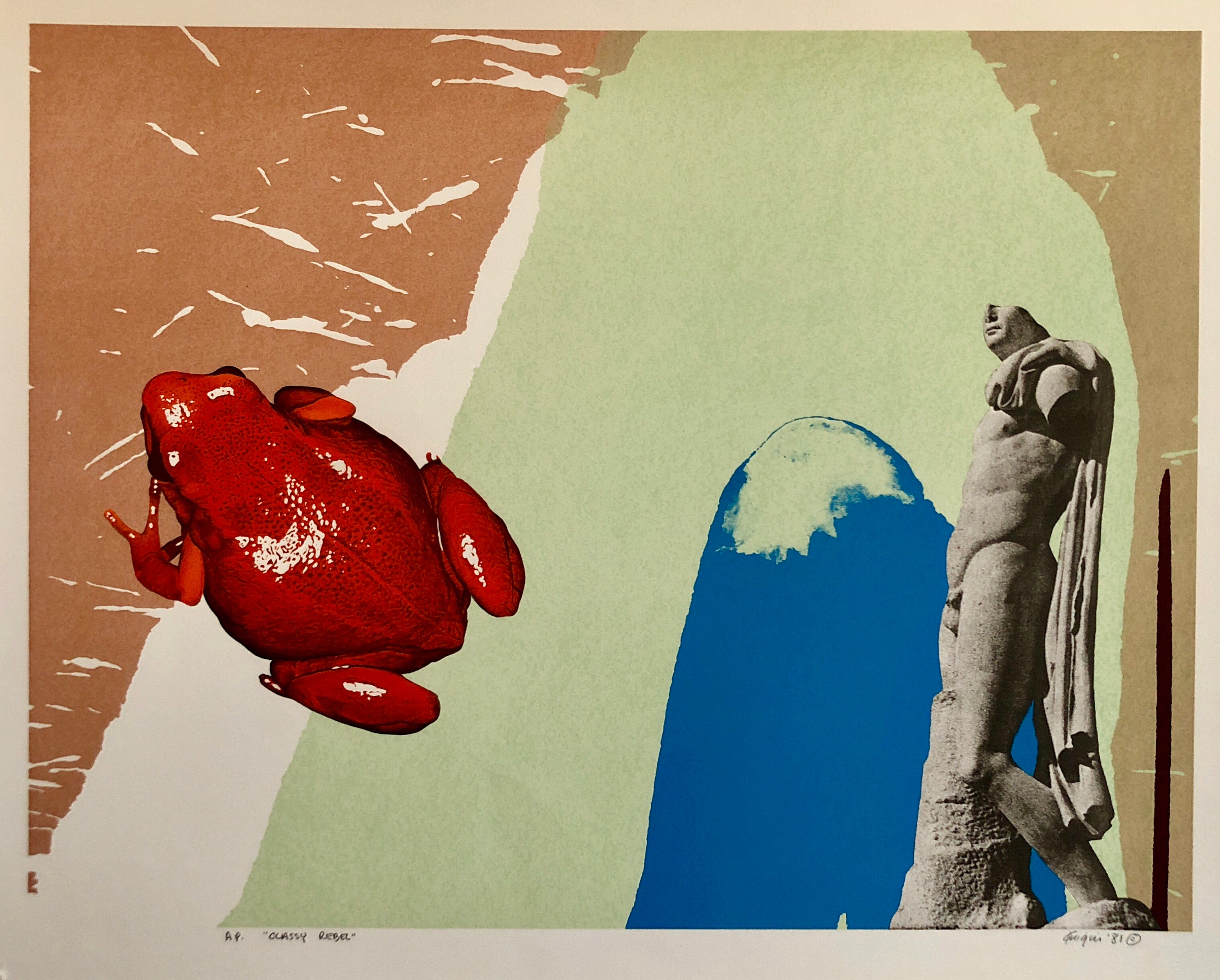"Silkscreen Surrealist Pop Art Print ""Classy Rebel"" Nude Statue and Frog"
