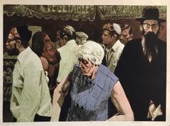 1970's New York City Jewish Street Scene Signed Judaica Pop Art Lithograph