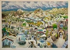 Large Jerusalem Israeli Judaica Surrealist Lithograph on Heavy Paper