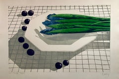 """Large Lithograph Still Life """"Table Talk"""" Asparagus and Blueberries on Tablecloth"""