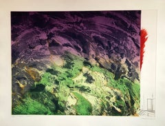 """Large Color Abstract """"Ungava"""" Canadian Landscape Aquatint Etching"""
