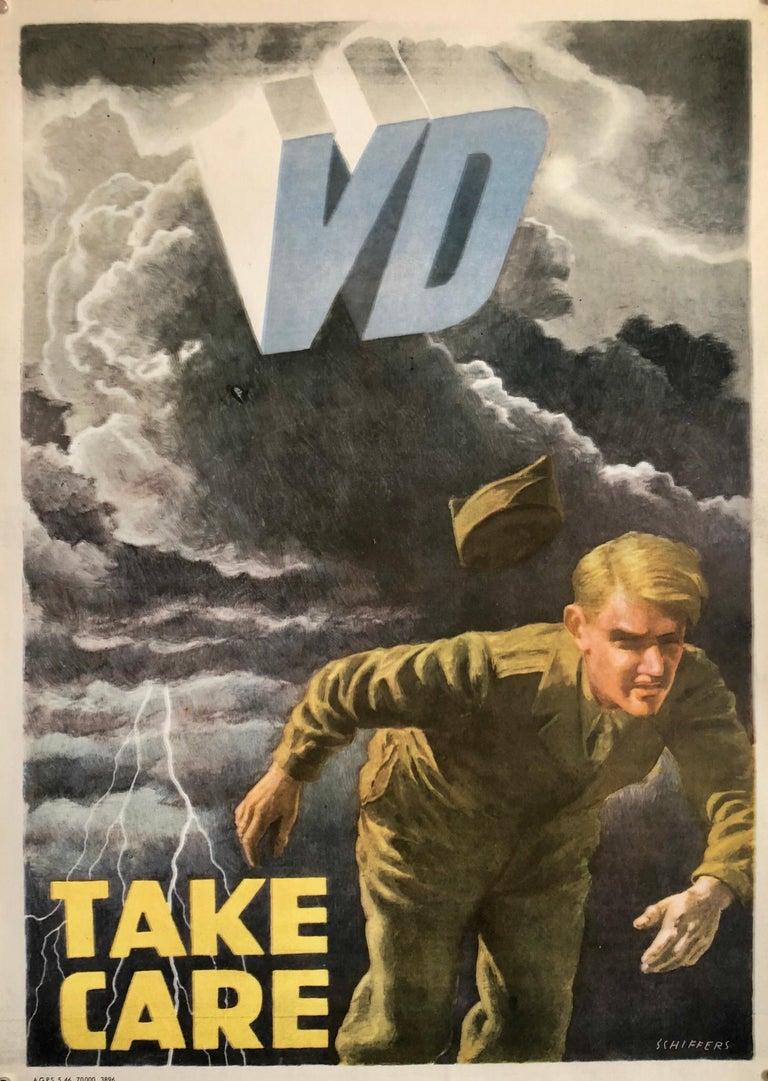 Original Vintage Color World War 2 Propaganda Poster TAKE CARE Offset Lithograph
