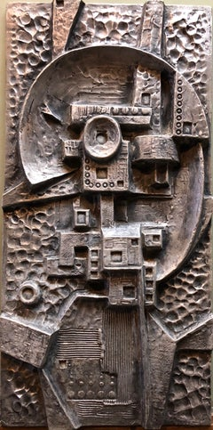 Mexican Modernist Master Silvered Cast Abstract Sculpture Relief Gunther Gerzso