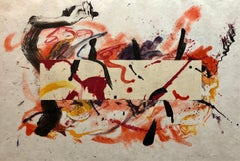 """MIxed Media Collage Watercolor Abstract Painting """"Calliope"""" Woman Artist"""