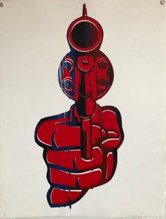 "Street Art Mixed Media Painting ""Bang"" Graffiti Style California Latino Artist"