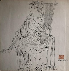 Ben Shahn Signed Judaica Lithograph King David with Harp Red Hebrew Chopmark