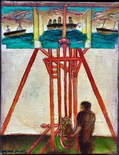 Surrealist Bulgarian French Israeli Riviera Scene Boats Oil Painting