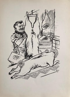 1936 Lithograph Interregnum Portfolio Butcher Shop Small Edition Weimar Germany