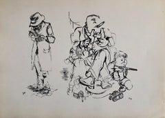 1936 Lithograph Interregnum, Cigar, Kid w Toy Gun,  Small Edition Weimar Germany