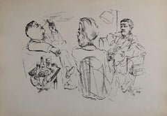 1936 Lithograph After Dinner Drinks, Scotch, Cigars Small Edition Weimar Germany