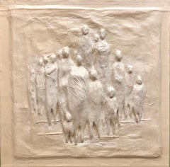 LA Modernist Cast Paper Moulded Relief Sculpture The Group In Lucite Shadowbox