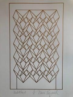 "Latin American ""Meditation"" Abstract Geometric Metallic Silkscreen Screenprint"