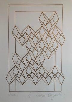 """Latin American """"Chevron"""" Abstract Geometric Metallic Silkscreen Screenprint"""