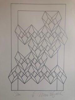 """Latin American """"Silver"""" Abstract Geometric Metallic Silkscreen Screenprint"""