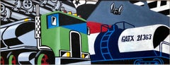 Bold Graphic Illustration Pop Art Image of Large Truck, Orignal Alkyd Painting