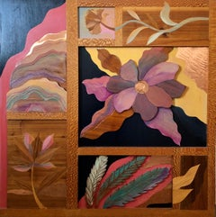 1970s  Large Wood, Copper Inlay Sculpture Wall Relief Tropical Flowers Motif