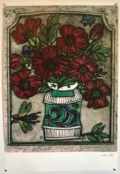 Offset Lithograph Modernist Print of Bold Vibrant Flowers, Plate Signed