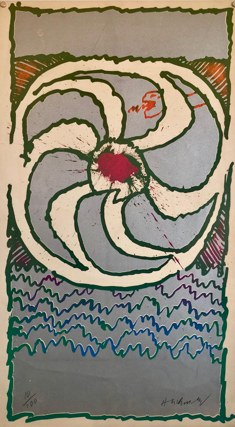 Metallic Lithograph Abstract Print Signed Ltd Ed Belgian Cobra Group Artist
