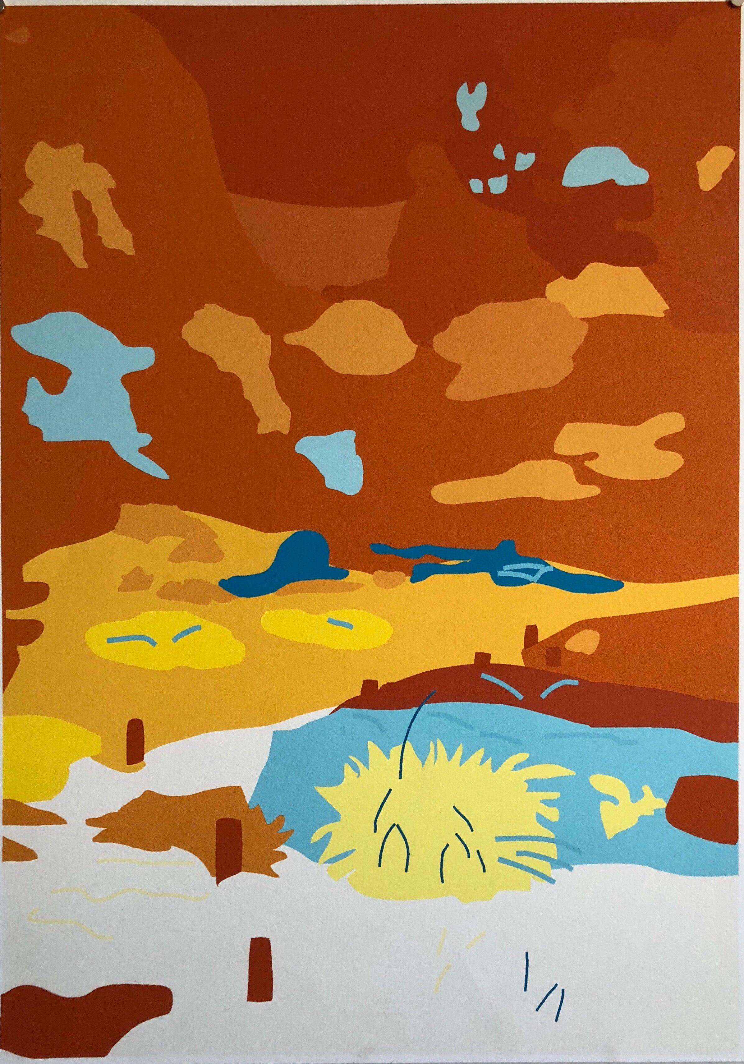 Large Abstract Vibrant Colorful Silkscreen Serigraph Print Japanese Garden