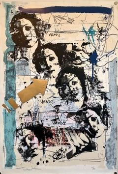 Israeli Mixed Media Gold Leaf Lithograph Tumarkin Abstract Surrealist Collage