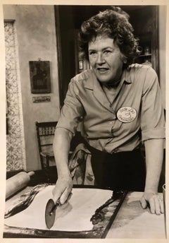 Vintage Silver Gelatin Photograph Print Chef Julia Childs Photo Stamp Signed
