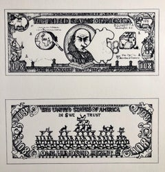 1960's Pop Art Silkscreen Print 108$ Bill Inflation Hand Signed and Numbered