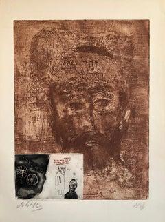 Zohar Kabbalah Portrait French Jewish Surrealist Aquatint Etching Hebrew Judaica