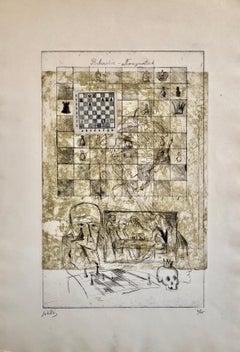 Chess Game Rubinstein Nimzowitsch Set French Israeli Surrealist Aquatint Etching