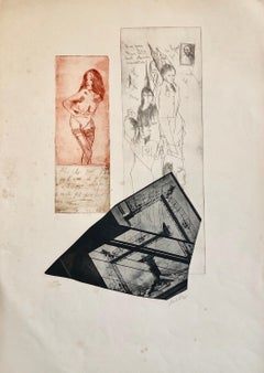 Erotic Nude French Surrealist Aquatint Etching Photo Collage Silkscreen Print