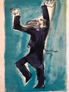 Israeli Modernist Judaica Chabad Hasidic Dancer Lithograph