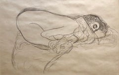 Erotic Sleeping Woman Austrian Lithograph Nude Boudoir Drawing