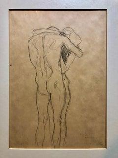 Erotic Embracing Nude Couple Austrian Lithograph Art Nouveau Vienna Secession